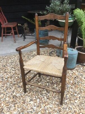 Antique Ladder Back Carver Arm Chair Rush Seated Georgian