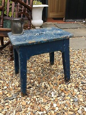 Vintage Painted Stool Ideal Lamp Coffee Bedside Table Original Paint