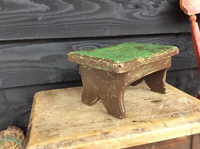 Super Little Victorian Painted Pine Welsh Stool Candlestand Cracket Stool