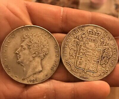 1826 George IV One Crown Silver Plated Restrike Coin King Side Inscription
