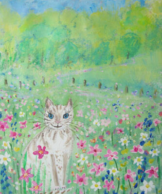 Snow Cat in the Wild Flower Meadow: an original painting on canvas by Jenny Hare