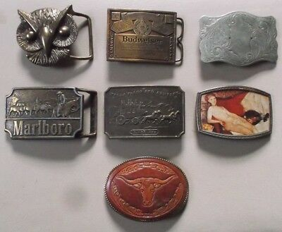 Lot of 7 Vintage Belt Buckles Budweiser Marlboro Wells Fargo Owl Nude Woman Bull