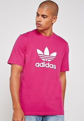 mens M/medium adidas originals trefoil logo crew t-shirt/tee dh5776 shock pink