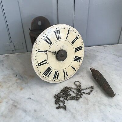 Antique wooden wall mounted postmans clock for parts