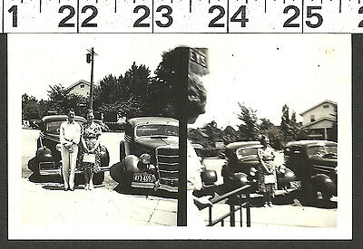 Vintage Old B&W 1938 Photo Of Couple By 2 Hotrod Antique Cars In Maryland #2547