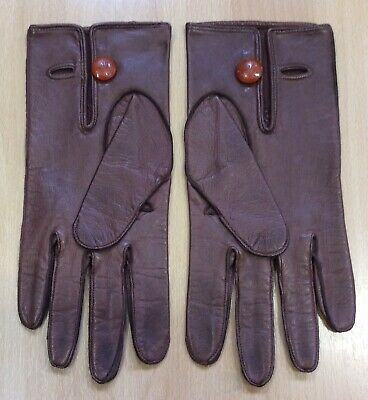 Vintage Bryans Of Worcester Brown Leather Gloves With Button Detail M