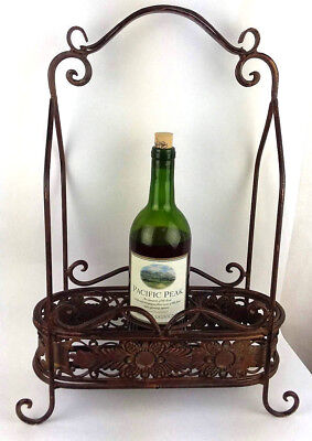 Decorative Metal Wine Bottle Holder Basket w Handle Holds 3 Shabby Distressed