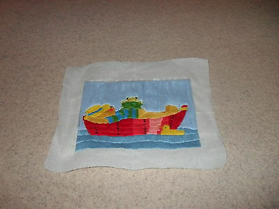 Completed long stitch picture (Boating Bear)