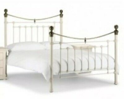 Cast Iron Double Bed White/Cream with Brass Bedknobs