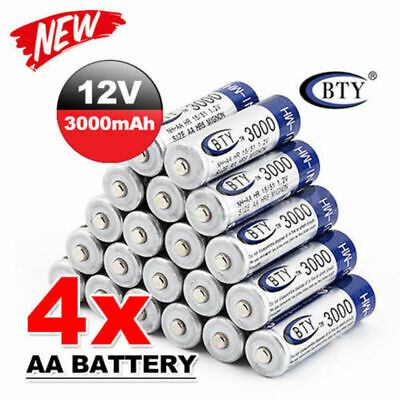 4-20pcs BTY AA Rechargeable Battery Recharge Batteries 1.2V 3000mAh Ni-MH