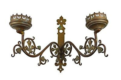 Antique Brass Gothic Revival Church 2 Candle Wall Sconce, Flemish.