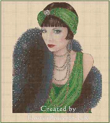 Art Deco Lady Green Dress/Black Stole Counted Cross Stitch COMPLETE KIT No.1-18a