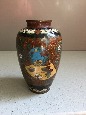 """Antique Aesthetic Chinese Enameled Cloisonne Gold Dust Butterfly Vase 3.5"""""""