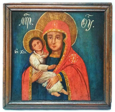 Antique 19th Cnt. Russian Hand Painted Wood Icon of the Mother of God