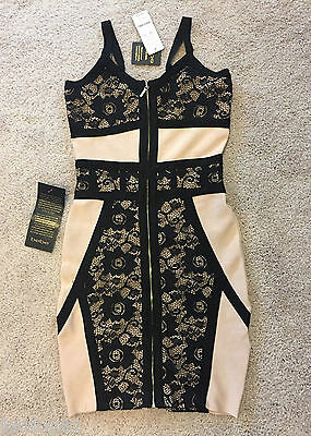 NWT bebe black beige ivory lace contrast straps zipper bandage top dress L large