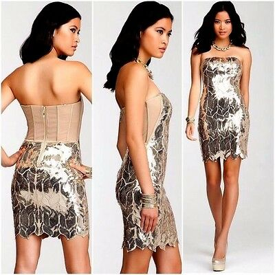 NWT Bebe beige mesh gold leaves sequin top dress sexy strapless luxury XS 0 2