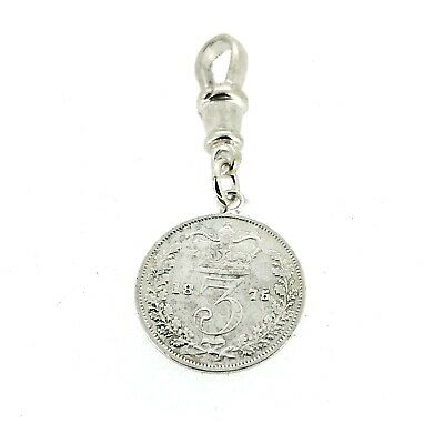 Sterling Silver 1875 Three Pence Coin Pocket watch Albert Chain Fob Charm -