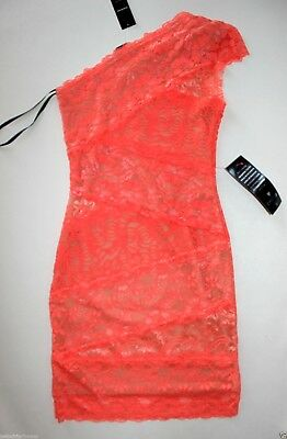 NWT Bebe coral pink lace dress one shoulder overlay mixed vegas top S Small