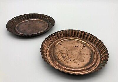 Vintage Antique Copper Metal Coasters Dishes By JS&S Joseph Sankey