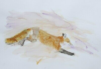 Original Running Fox Watercolour Painting Impressionist Art