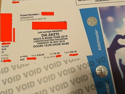 Die Ärzte 1x London 30.05.2019 Electric Ballroom Miles and More Tour 2019 Ticket