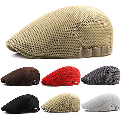 3bdb056da9345 Summer Men Newsboy Ivy Gatsby Cap Hat Mesh Cabbie Golf Driving Sun Flat  Beret