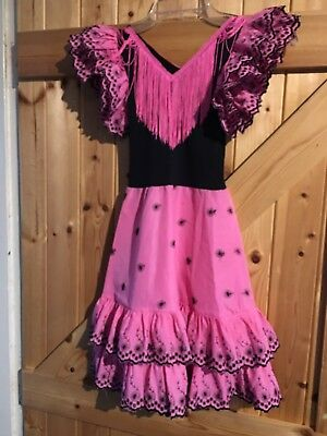 "Pink Black Girls Gypsy Dress Age 6 Years Chest 22"" Lovely Little Party Dress"