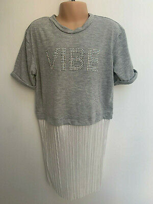 ex RIVER ISLAND Girls All in One Dress - Grey Top & White Skirt Aged 11-12 Years