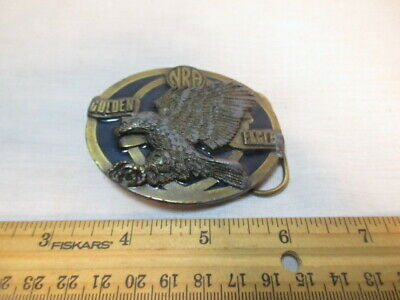 Vintage Golden Eagle NRA Belt Buckle Made In The USA Metal Men's Women Accessory