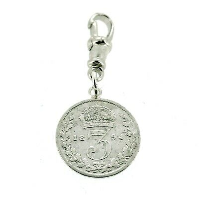 Sterling Silver 1894 Three Pence Coin Pocket watch Albert Chain Fob Charm