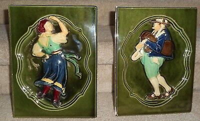 "Antique Pair Glazed Architectural/stove Tiles Czechoslovakia 8.25"" X 11"" X 2.25"""