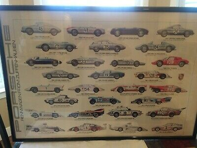 Rare Beautiful 1979 Porsche Racing Poster featuring Cars from 1953-1980
