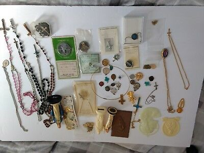 Religious Items Lot Of Necklaces Rosaries Pins Medals Statues Charms Crosses Etc