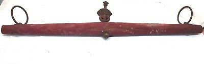 "MILITARY STAMPED? Antique Wood Yoke 36"" Harness & Metal Rings Farm Ox Horse Mule"