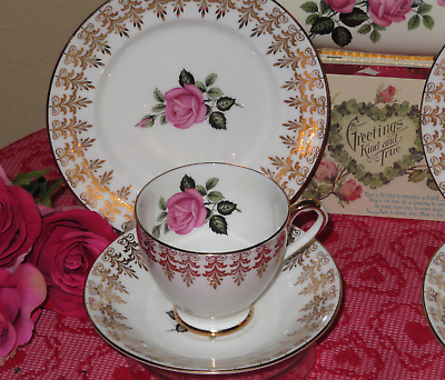 Pink Rose gold filigree trio: Teacup(s), Saucer(s), Plate(s) England: 4 sets EUC