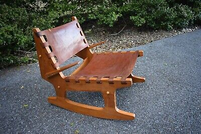 VTG rustic Angel Pazmino rocking lounge chair 50's 60's primitive craft style