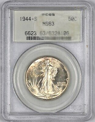1944-S Walking Liberty Silver Half Dollar OGH 50C - PCGS MS63 -