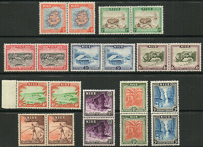 Niue 1950 KGVI set of mint stamps value to 3 shillings (in pairs)  MNH