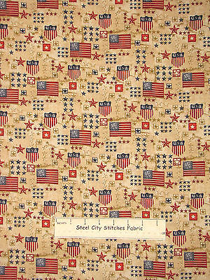 Patriotic Primitive Beige US Flag Eagle Bell Cotton Fabric Marcus By The Yard