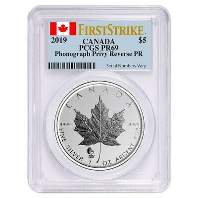 2019 1 oz Silver Canadian Maple Leaf Phonograph Privy Reverse Proof PCGS PF 69