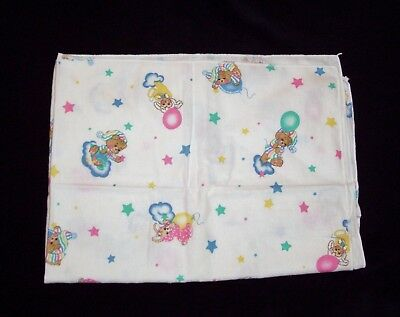 "VTG Teddy Beddy Flannel Receiving Baby Blanket Riegel 30x40"" Lamb Bunny Balloon"