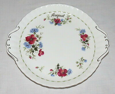 """Royal Albert Flower of the Month 10.1/4"""" Cake Plate with Handles - Poppy"""