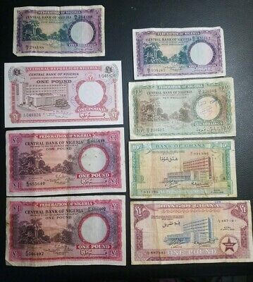 Lot Of 8 Banknotes From Nigeria And Chana 1958 1959