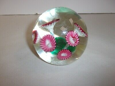Candy Cane Stripe Trumpet Flowers Art Glass Paperweight Pink & White