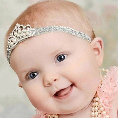New Christening Crown Headband Glitter Hair Accessory Baby Girl Gift Silver Gold