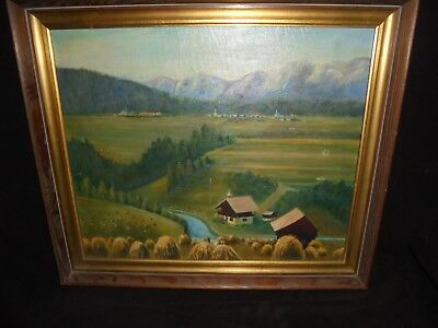Painting Landscape Village Mountains Haystacks Oil Canvas Pine Frame Sgd Taar(?)