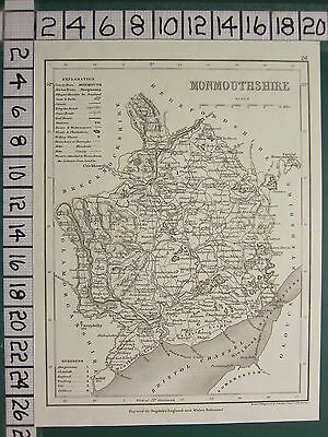 c1836 VICTORIAN MAP ~ MONMOUTHSHIRE ~ STATIONS ROADS POLLING RIVERS PARKS SEATS
