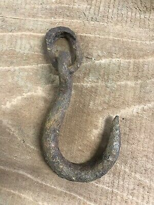 Antique HAND FORGED HOOK and RING RUSTIC TOOL BARN FARM HANGING PRIMITIVE