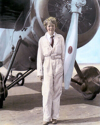 "AMELIA MARY EARHART AVIATION PIONEER AUTHOR PILOT 8x10"" HAND COLOR TINTED PHOTO"