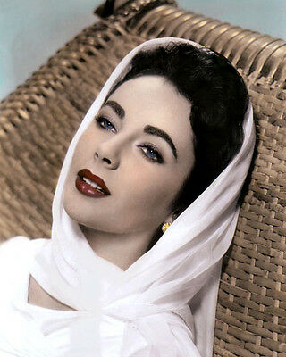 """ELIZABETH TAYLOR GIANT 1956 HOLLYWOOD ACTRESS 8x10"""" HAND COLOR TINTED PHOTOGRAPH"""